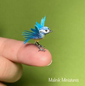 Dollhouse Miniature OOAK Realistic Blue Tit bird - Malinik Miniatures
