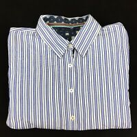 Tommy Hilfiger Women's Button Up Long Sleeve Blue and white Striped Shirt Sz 12