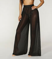 Female Sexy Solid Color Gauze Mesh See-through Loose Pants Long Trousers