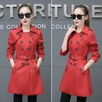 Korean Womens Trench Coat Slim Fit Double Breasted Mid-length Outwear Hot Sbox14