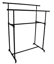 "Garment Clothes Display Double Rack Retail Industrial Fixture 48"" Wide Black NEW"