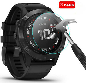 2 x For Garmin Fenix 6 / 6 Pro Smart Watch Tempered Glass Screen Protector Cover