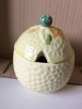 Vintage Jam Honey Preserve Lidded Pot Lemon Yellow 4 ½� tall