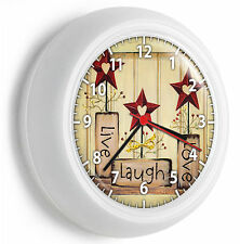 LIVE LAUGH LOVE WALL CLOCK KITCHEN DINING BEDROOM TV ROOM DECOR DECORATION GIFT