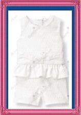 NWT 4 Janie & Jack BLUE BELLE white cotton Eyelet Peplum ROMPER SHORTS 1-pc Set