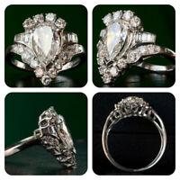 3.89Ct Pear Cut Diamond Antique Art Deco Vintage Engagement Ring 14k White Gold