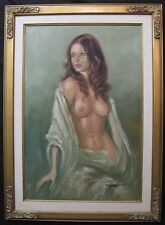 Vintage 1960's? Large Oil  Nude Pinup Style Portrait Painting signed Lorenz
