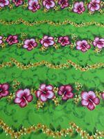 "HAWAIIAN PRINT LUAU FLORAL POLY COTTON FABRIC 45"" Tribal Polynesian Island Style"