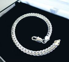 Mens, unisex 925 Sterling Silver Plated textured Curb chain bracelet, BARGAIN UK