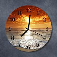 Glass Wall Clock Kitchen Clocks 30 cm round silent Beach Sea Orange