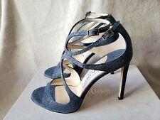 8bc74fdc7b618 NIB Jimmy Choo Lang 38.5 8 8.5 Cage Strappy Sandals Navy Metallic Blue  Glitter