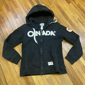 Canada 2010 Olympics Hudson's Bay Zip Up Jacket Hoodie Black Size Small