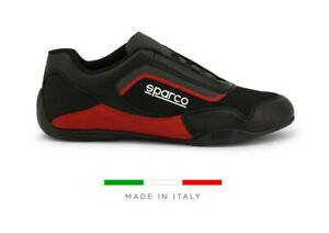 SPARCO JEREZ Men's black red leather Racing Fitness Gym Trainers Driving Shoes