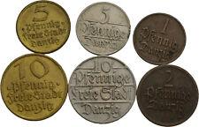 Künker: Danzig, Kleinmünzenlot, 1 Pfennig - 10 Pfennig, 1923-1932, siehe Fotos