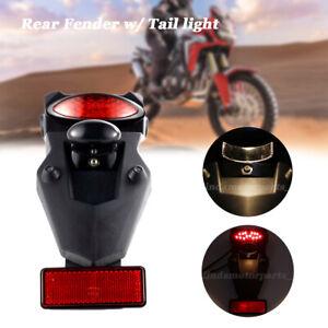 Plastic Motorcycle Rear Fender w/ Tail LED Light Brake Lamp Universal Mud Guard