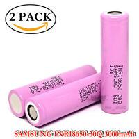 2x Samsung INR 30Q 15A 3000mAh Rechargeable Flat Top Li-ion USA
