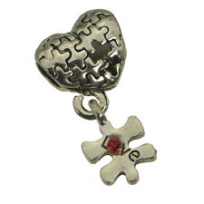 Sterling Silver .925 Autism Awareness Jigsaw Puzzle Love European bead Jewelry