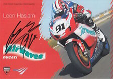 Leon Haslam Hand Signed Airwaves Ducati Promo Card 1.