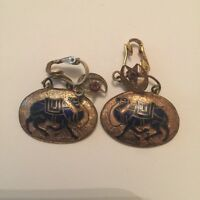 Vintage Middle Eastern Enamel Camel Clip On Earrings