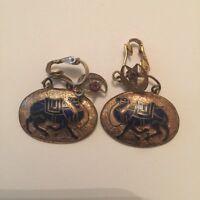 Vintage Middle Eastern Enamel Camel Clip On Earrings