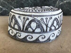 Islamic Pray Hat Cap Embroidery Fancy Prayer Muslim Headwear Topi Brown White