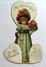 1910s Mechanical Valentine's Day Card Victorian Style Woman w/ Big Hat