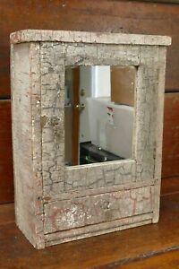 Antique Primitive Handmade Chippy Paint Wood Medicine Wall Cabinet Mirror Vanity