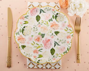 8 Pink Green Floral Paper Plates for Baby Shower Bridal Shower MW36866