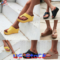Summer Women Shoes Platform Toe Ring Slippers Sandals Wedge Flip Flops Casual US