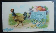 Vintage Huyler's Bon Bons Chocolate Easter Rooster with Egg Cart advert card