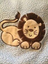 "Baby Blanket LION Blue Brown 28"" X 33"""