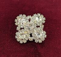 Vintage Rhinestone Brooch Small Sparkling Silver Tone Flower Pin Jewellery