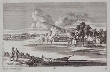 Gravure Etching Incisione Kupferstich PERELLE Paysage animé rivière barque