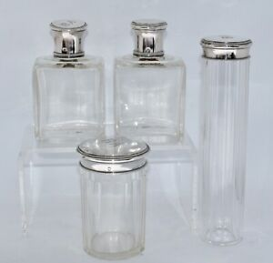 4 Piece French 950 Sterling Silver and Crystal Travelling Vanity Set / Bottles
