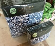 RALPH LAUREN PORCELAIN BLUE QUEEN QUILT & 2 QUILTED STANDARD SHAMS~NEW HTF