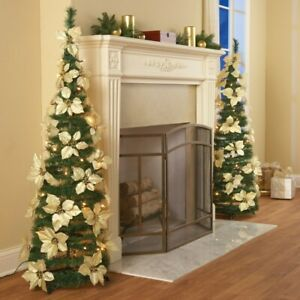 Collapsible Easy Storage Lighted Cream Poinsettia w/ Gold Berries Christmas Tree