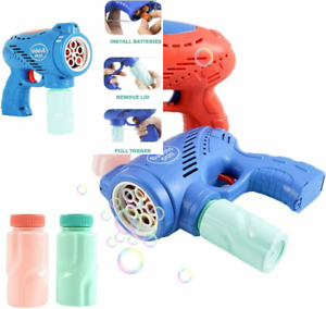 2 Bubble Guns with 4 Bottle Refill Solution for Toddler, Bubble...