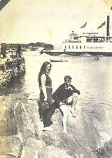 Rppc Original Antique 1900's Couple posing Huguenot boat Sepia Postcard