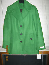 NWT Women's Calvin Klein Solid Green Lined Polyester Wool Blend Peacoat Size 8