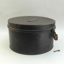 WWI Military Hat Box / Tin with Brass Padlock ~ D J DAVIES ~ Bulpitt & Sons 1916