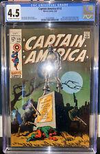 CGC 4.5 CAPTAIN AMERICA #113 1969 Classic Cover! Entire Avengers Line-Up App.