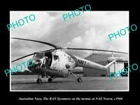 OLD HISTORIC PHOTO OF AUSTRALIAN NAVY SYCAMORE HELICOPTER AT NAS NOWRA c1960