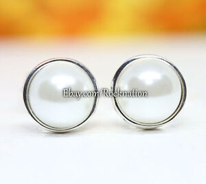 Authentic Pandora Simple Freshwater Cultured Pearl Silver 290727P Stud Earrings