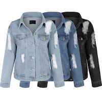 KOGMO Women's Loose Fit Boy Friend Denim Jean Jacket With Pockets Coats
