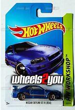 NISSAN SKYLINE GT-R (R34) #230 blue HW Workshop - 2014 Hot Wheels Basic M9
