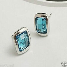 Stile Beautiful Rhinestone Square Opal Blue Imitation Fashion Earrings Women