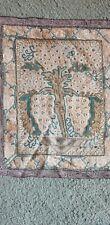 Antique 19thc Hungarian Wowen linen textile art Fringed peasant folk towel 33x23