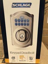 Schlage Satin Nickel Deadbolt Door Lock. Keyless entry system.