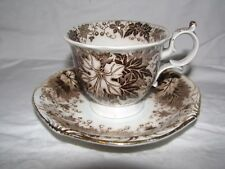 antique brown transferware AMBERG Germany Jardiniere Wallerfangen pattern CUP &