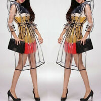Fashion Women Girls Transparent Vinyl Raincoat Runway Style Clear Rain Coat Gift